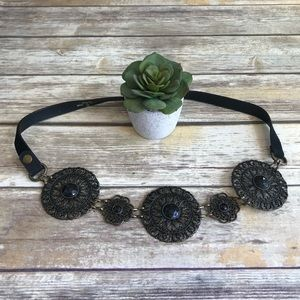 CHICOS. Leather/Suede Embellished Medallion Belt.